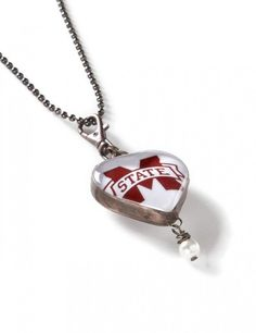 Mississippi State Bulldogs | Heart Shaped Glass Necklace | meesh & mia