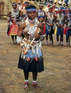 Zulu Tribe Young Woman In Ceremonial Cele Dress With Nude Breast Jeune Femme Africaine Seins Nus
