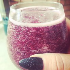 frozen blueberries, ice, water, Arbonne citrus fizz stick and white wine...I put it through my Ninja and it gets all frothy. Sooooo good!