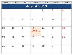 August Kalender 2019 Excel Periodic Table, Ascension Day, Periodic Table Chart, Periotic Table