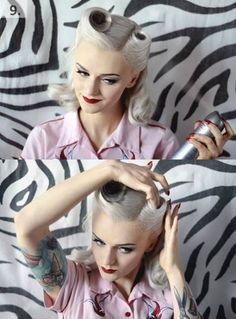 Rockabilly by lissie Vintage wedding hairstyles updo victory rolls ideas Pinup, 1940s Hairstyles, Wedding Hairstyles, Pin Up Hairstyles, Vintage Hairstyles Tutorial, Hairstyle Ideas, Pelo Pin Up, Moda Pin Up, Victory Curls
