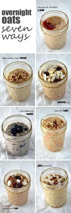 Tellement une belle idée de déjeuner à préparer la veille!! Overnight Oats Seven Ways -- a week's worth of healthy, filling breakfasts in no time! VEGETARIEN