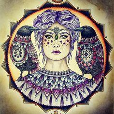 Fr Hanna Karlzons Magisk Gryning/Magical Dawn.  @hannakarlzon #hannakarlzon #dagdrömmar #daydreams #daydreamscolouring #sommarnatt #summernight #magiskgryning #magicaldawn