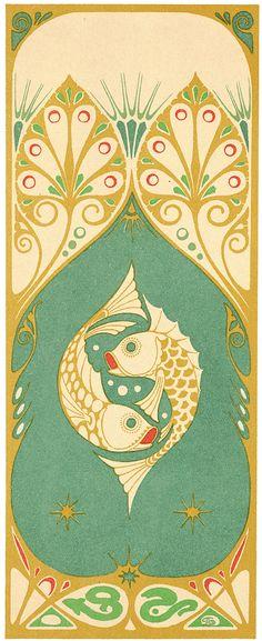 Illustration as it used to be. - Three decorative panels by A. Smit for 'The Art. Good art deco design of fish Mucha Art Nouveau, Motifs Art Nouveau, Azulejos Art Nouveau, Motif Art Deco, Art Nouveau Design, Art Design, Art Nouveau Pattern, Art Deco Print, Nouveau Logo