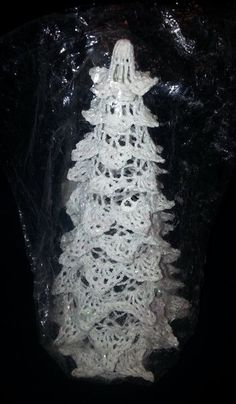 White Crocheted Christmas Tree Stiffened, Hollow Vintage Christmas Decoration