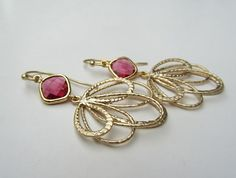 Gold Earrings-Ruby glass with Gold Plated pendant