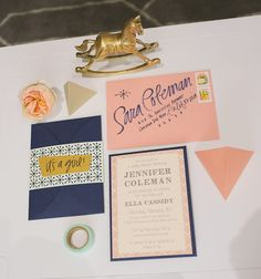 This color scheme of peach and navy is great for a gender neutral baby shower