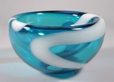 """Turquoise Bubble Bowl""  Art Glass Bowl  Created by Cristy Aloysi and Scott Graham"