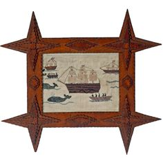 Sampler with Nautical Theme in Tramp Art Frame