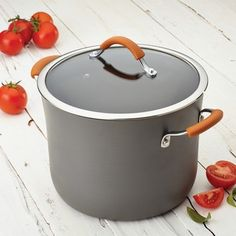 Shop for Rachael Ray Cucina Hard-Anodized Nonstick Covered Stockpot, Grey with Pumpkin Orange Handles. Get free delivery On EVERYTHING* Overstock - Your Online Kitchen & Dining Outlet Store! Grey Pumpkin, Home Goods Store, Professional Chef, Yummy Food, Delicious Meals, Kitchenware, Earthy, Easy Meals
