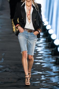 Saint Laurent Puts a Parisian Spin on Festival Style for Spring 2020 - Fashionista Mode Outfits, Short Outfits, Jean Outfits, Spring Outfits, Casual Outfits, Fashion Outfits, Summer Outfits Women Over 40, Summer Shorts Outfits, Casual Attire