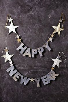 pentagram 2016 happy new year paper banner - paper garland, polka dots and chevron