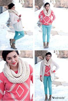 Pink Long Sleeve Geometric Print Pullovers Sweater - Sheinside.com #Sheinside