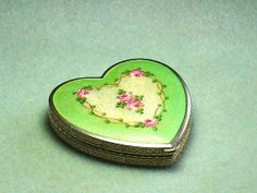 Vintage French Enamel Guillouche Compact--Love this especially the heart shape