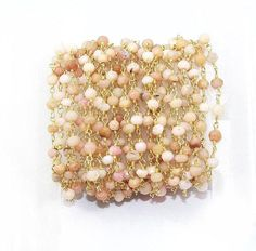 Wholesale Beautiful Pink Opal Rosary Beaded Chain  Beads wire