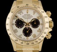 ROLEX 18K YELLOW GOLD O/P PANDA DIAL DAYTONA B&P 116528 http://www.watchcentre.com/product/rolex-18k-yellow-gold-o-p-panda-dial-daytona-bp-116528/5787