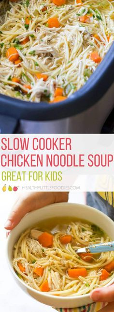 This is the BEST Slow Cooker Chicken Noodle Soup! No pre cooking required, just dump and cook. Perfect for busy parents. LOVED by kids! via recipes slow cooker Slow Cooker Huhn, Best Slow Cooker, Slow Cooker Soup, Slow Cooker Recipes, Slow Cooking, Slow Cooked Meals, Cooking Bacon, Cooking Wine, Cooking Utensils