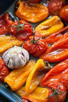 Pimientos y tomates asados al horno (geroosterde paprika en tomaten uit de oven)
