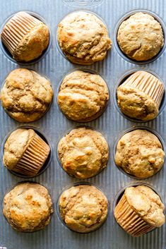 These Healthy Peanut Butter Banana Muffins are naturally sweetened with maple syrup, and packed full of healthy ingredients you can feel good about. They make a perfect after workout snack, make ahead breakfast or a snack for kids and toddlers! Healthy Banana Muffins, Healthy Muffin Recipes, Healthy Baking, Baby Food Recipes, Snack Recipes, Banana Recipes, Peanut Butter Muffins, Healthy Peanut Butter, Peanut Butter Banana