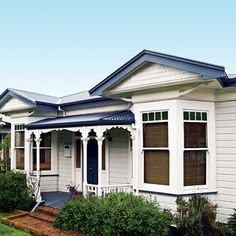 Villa style house, New Zealand White Exterior Houses, House Paint Exterior, Exterior House Colors, Exterior Design, Villas, Weatherboard House, Queenslander, New Zealand Architecture, Roof Colors