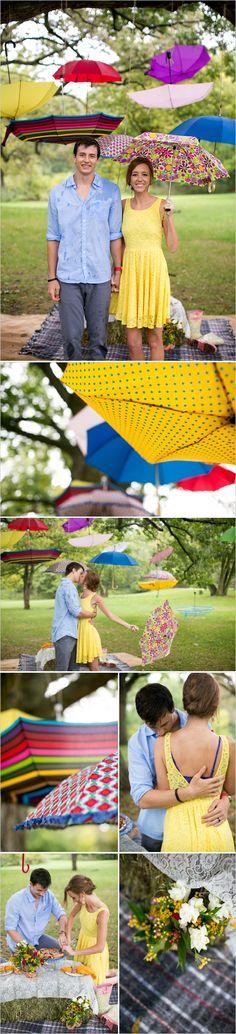 Ensaio picnic com chuva