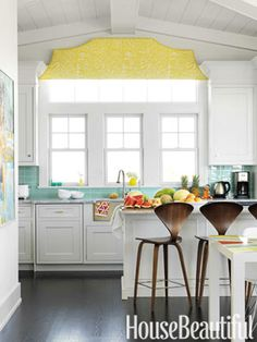 White kitchen. Design: Mona Ross Berman. Photo: Jonny Valiant. housebeautiful.com. #kitchen #white #beachhouse