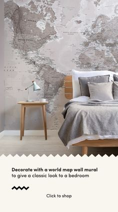 Check out this neutral shades world map wallpaper, a stylish world map mural that will offer longerity in style and quality, perfect for your living room. World Map Mural, World Map Wallpaper, Normal Wallpaper, Standard Wallpaper, How To Hang Wallpaper, Color World Map, Wall Murals Bedroom, World Map Travel, Classic Interior