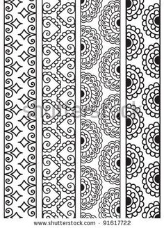 Henna Border, Henna inspired Border - very elaborate and easily editable - stock vector