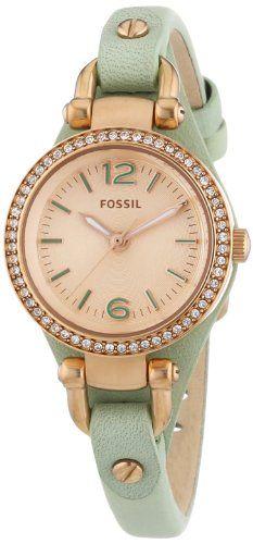 Fossil Armbanduhr Damen Holz ~ Fossil Damen Armbanduhr XS Georgia Analog Quarz Leder ES3471 Fossil