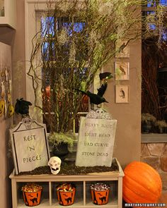 """See the """"Ghoulish Eulogies"""" in our Halloween Decorations from the Show gallery Halloween Graveyard, Holidays Halloween, Halloween Diy, Halloween Decorations, Martha Stewart Halloween, Holiday Crafts, Holiday Decor, Cheese Cloth, Show Photos"""
