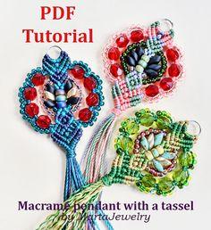 PDF macrame tutorial DIY micro-macrame pendant beaded