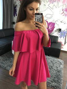 hot pink dress, off the shoulder strapless dress, casual pink mini dress - Lyfie