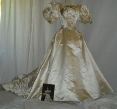 1890s Dress Victorian Silk Gown with Wax Flowers and Huge Sleeves