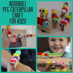 Inexpensive, Easy & FUN Peg Caterpillar Craft for kids! These are just sooooo cute!
