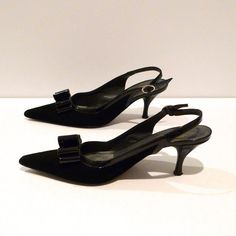 Donald Pliner Black Sling Back Pumps Vintage by plattermatter