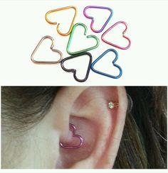 Heart Cartilage Tragus Helix Daith Rook 10mm 18g Earring Piercing Jewelry #BodyArtForAll