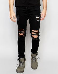 Dark Future Super Skinny Jeans With Extreme Rips Mens Dark Jeans b072cd7cf91