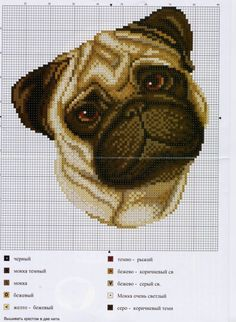 Pug Dog Cross Stitch Chart..change mouth to grey for chloé