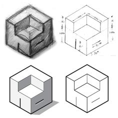 A cube cut in the famous golden ratio, displayed in the architectural isometric view, and sporting the initials (h & d) of Home Designing.
