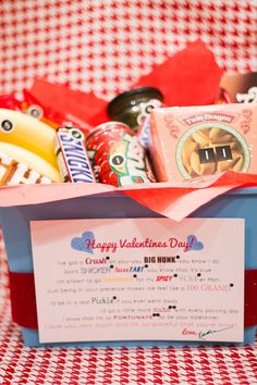 """Basket of Snacks"" with Printable Poem {My Insanity} -This candy gram style gift snack basket is easy to replicate since its contents come from the grocery store (or dollar store) and the Printable Poem is provided!"