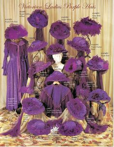 In case of emergency! - Over 15 different victorian ladies hats, in Purple and Magenta.