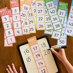 One More, One Less, Ten More, Ten Less Number Cards – you clever monkey - Mathe Ideen 2020 Numeracy Activities, Kindergarten Activities, Teaching Math, Kindergarten Preparation, Number Sense Activities, Number Sense Kindergarten, 1 More 1 Less Activities, Skip Counting Activities, 1st Grade Math Games