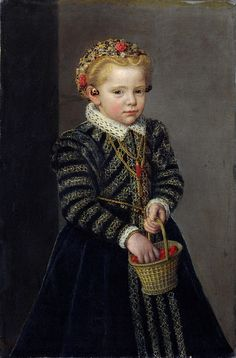 The sitter in 'A Little Girl with a Basket of Cherries' has not been identified, but her dress dates the portrait to the Around her neck she wears a piece of coral, a common gift to children, believed to protect them from evil Mode Renaissance, Renaissance Fashion, Elizabethan Fashion, Elizabethan Era, Renaissance Portraits, Renaissance Paintings, Victorian Paintings, Historical Costume, Historical Clothing