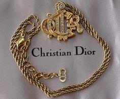 Christian Dior Black Ribbon Necklace Choker Silver Cyrstal Bow