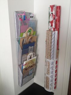 Organized Wrapping Station   Gift bags, Tissue, Wrapping Paper @ Ribbon. DIY home storage organization.