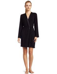 Calvin Klein Women`s Essentials With Satin Long Sleeve Short Robe $75.00