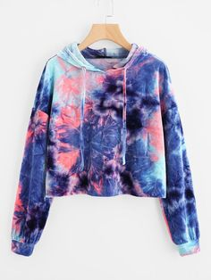 Crop Velvet Hoodie with Batik Pattern - German SheIn (Sheinside) - Fashion: Pullover - Shoes Crop Top Hoodie, Cropped Hoodie, Sweater Hoodie, Blue Hoodie, Teen Fashion Outfits, Trendy Outfits, Girl Outfits, Women's Fashion, Tomboy Outfits