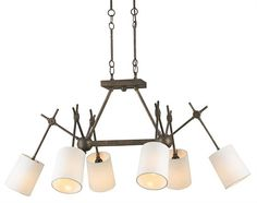 $1350.00 in stock in Atlanta. Approx. freight is $186.00. Wrought Iron Finish: Cupertino Lamping: (6) 60W Edison Bulbs Dimensions (inches): 43w x 21h x 29d Compass Rectangular Chandelier from Currey
