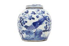 "Beautiful Blue and White Porcelain Ginger Jar Floral Bird Motif 10"""