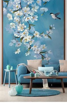 Oil Painting Flowers and Bird Wallpaper Wall Mural, Blue Color Vintage Warm Wall. - Oil Painting Flowers and Bird Wallpaper Wall Mural, Blue Color Vintage Warm Wall Mural, Wall Mural - Wall Murals Bedroom, Room Wall Decor, Living Room Murals, Bird Bedroom, Tree Wall Murals, Bedroom Decor, Wallpaper Wall, Cute Blue Wallpaper, Beautiful Wallpaper